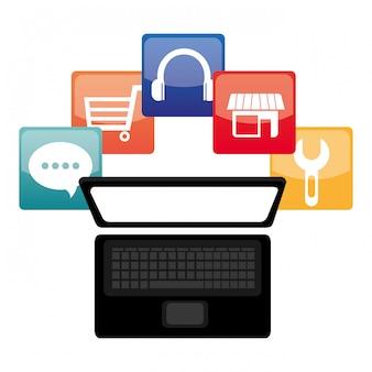 E-commerce e design de aplicativos móveis de mercado. Vetor Premium