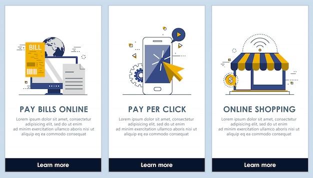 E-commerce e pagar contas em telas de aplicativos de linha