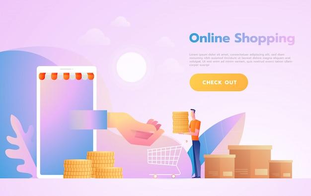 E-commerce ou conceito de compras on-line com as mãos, alcançando fora de uma tela de computador, segurando um produto comercial.