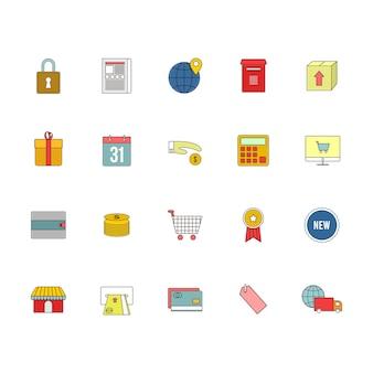 E-commerce web outline icon illustration set
