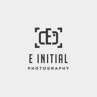 E elemento de ícone de design de vetor de modelo de logotipo de fotografia inicial