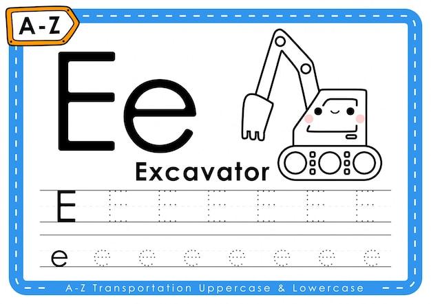 E - escavadeira: planilha de letras de rastreamento de transporte az do alfabeto