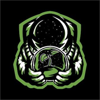 E esporte astronauta logotipo pendurado um copo de bola