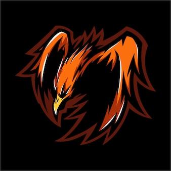 E esporte logotipo fogo phoenix pronto para atacar