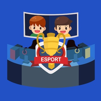 E evento esportivo, torneio de jogador profissional com taça de campeão. ilustração vetorial