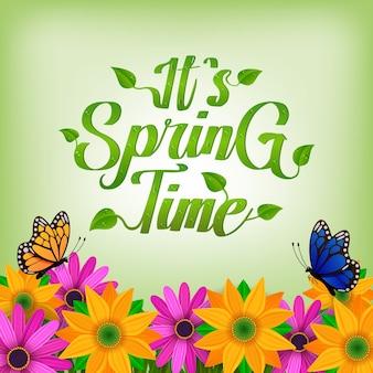 É fundo de tempo de primavera com flores e borboleta