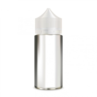 E garrafa de líquido simulado acima. embalagem de vapor em branco