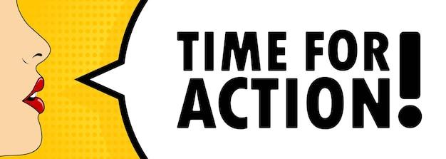 É hora de agir. boca feminina com batom vermelho gritando. balão de fala com tempo de texto para a ação. pode ser usado para negócios, marketing e publicidade. vetor eps 10.