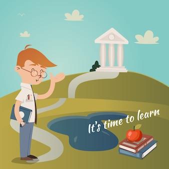É hora de aprender ilustração vetorial com um professor com livros debaixo do braço apontando o caminho até uma trilha para um prédio de faculdade no topo de uma colina em um conceito de educação