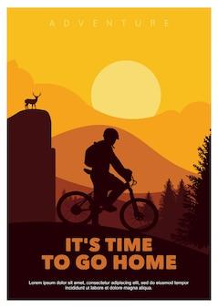 É hora de ir para casa, silhueta de bicicleta de montanha de pôster