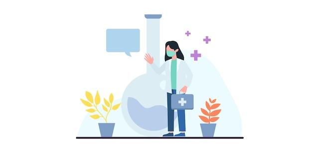 É hora de vacinar. covid19. coronavírus. lutando contra o vírus. o médico explica a vacina da seringa para o vírus. ilustração para publicações médicas. medicina preventiva. banner da web