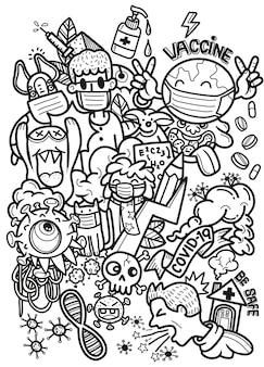 É hora de vacinar o conceito. vacina para covid-19, doodle engraçado