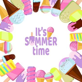 É hora de verão - fundo com sorvete