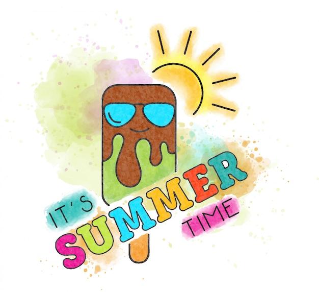 É hora de verão. letras de aquarela com sorvete