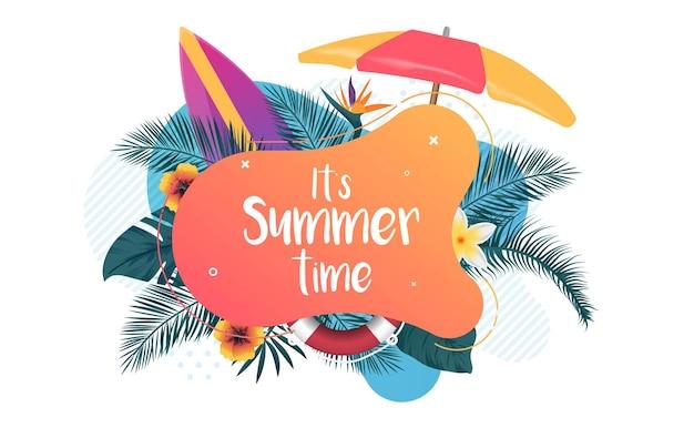 É hora de verão tipográfica em forma líquida abstrata