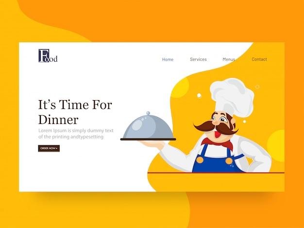 É hora do jantar página inicial com personagem chef segurando cloche em abstrato.