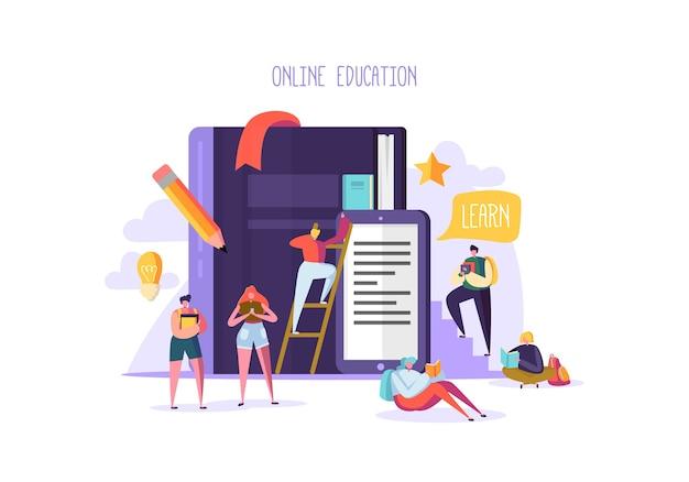 E-learning com pessoas planas lendo livros