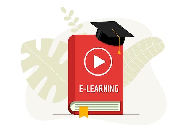 E-learning com play ícone de vídeo no livro de capa vermelha e boné de formatura. chapéu da academia em educação on-line, estudando e o conceito de webinar de dever de casa de ensino de internet. ilustração em vetor plana