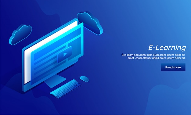 E-learning conceito baseado página de destino responsivo.