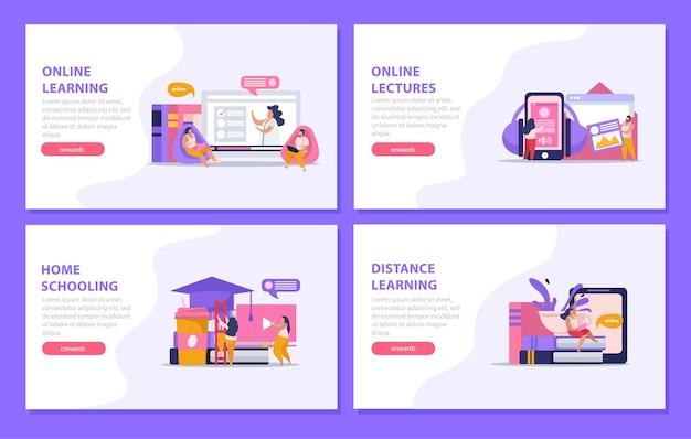E-learning conjunto de educação domiciliar de banners horizontais da página de destino