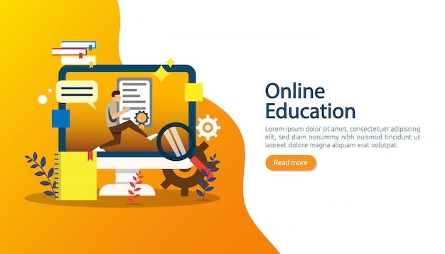 E-learning, e-book ou conceito de educação on-line para banner