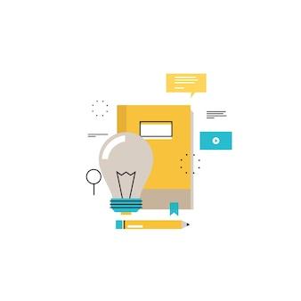 E-learning, educação on-line plano vetor ilustração design. educação à distância, treinamentos on-line, cursos, internet que estudam, livro on-line, design de tutoriais para gráficos móveis e web