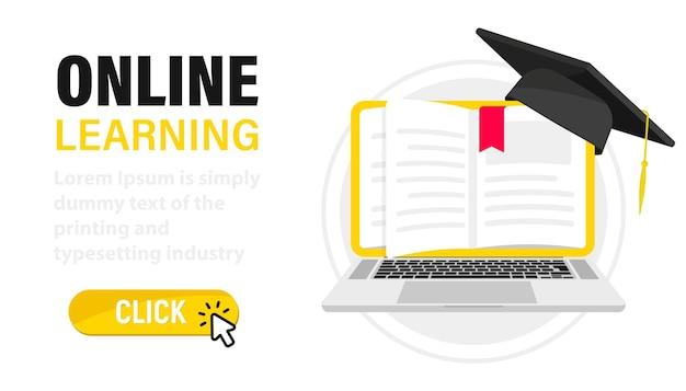 E-learning, educação online em casa. educação digital online. laptop com as páginas do livro como tela. página da web com livros e um chapéu de formatura. treinamento online, workshops e cursos, tecnologia em nuvem