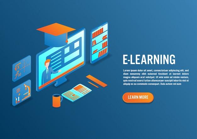 E-learning em design isométrico
