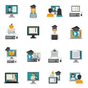 E-learning icons set plano