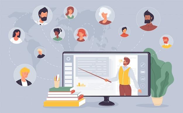 E-learning na tela do laptop