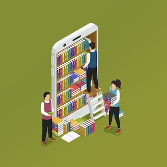 E-learning smartphone isométrico