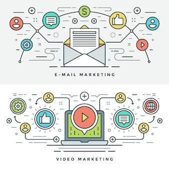 E-mail de linha plana e ilustração de conceito de marketing de vídeo