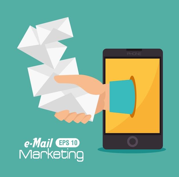 E-mail design, ilustração vetorial.
