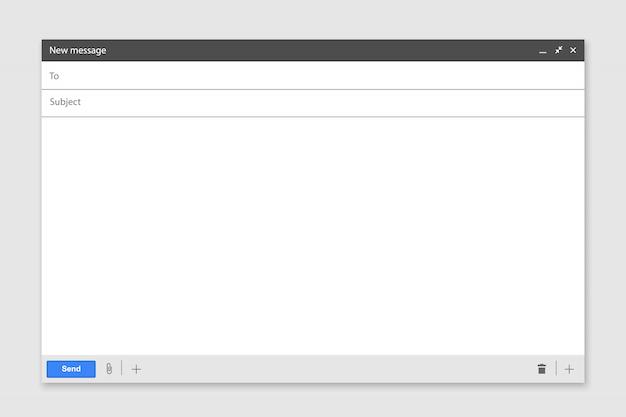E-mail em branco modelo de página na internet. interface para mensagem de correio