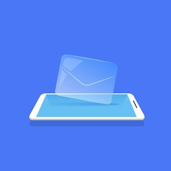 E-mail envelope ícone aplicativo messenger móvel fundo azul plano