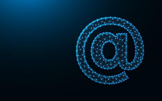 E-mail ícone baixo poli design, imagem geométrica abstrata, arroba wireframe malha poligonal fundo