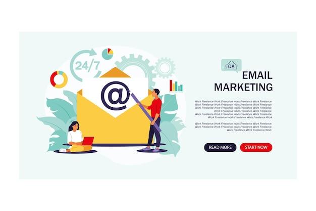E-mail marketing, bate-papo na internet, conceito de suporte 24 horas. página de destino.
