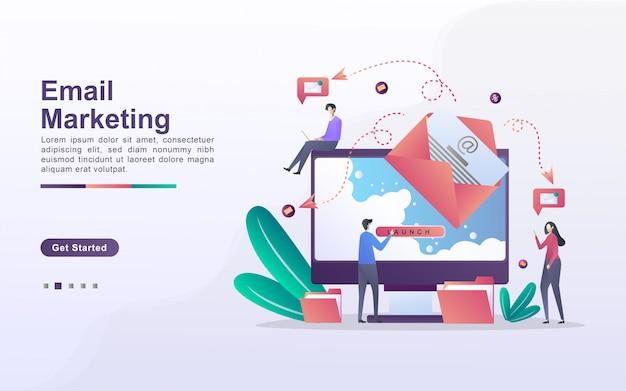 E-mail marketing conceito. campanha de publicidade por e-mail, e-marketing, atingindo o público-alvo com e-mails. envie e receba correio. pode ser usado para página de destino da web, banner, aplicativo móvel.