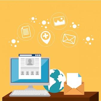 E-mail marketing conjunto de ícones