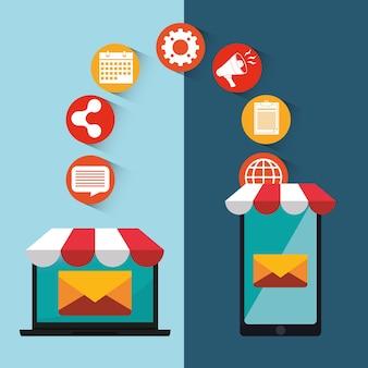 E-mail marketing e design de mídia de comunicação