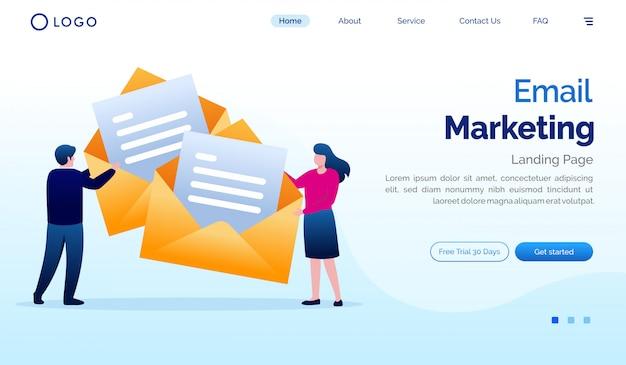 E-mail marketing ilustração do site da página de destino