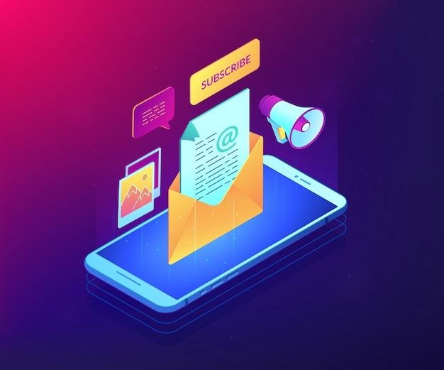 E-mail marketing isométrica ilustração conceito 3d.