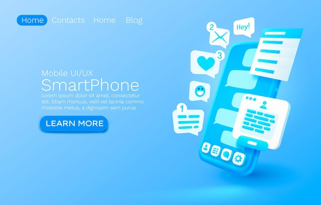 E-mail móvel mensagem bate-papo internet site web banner design vector