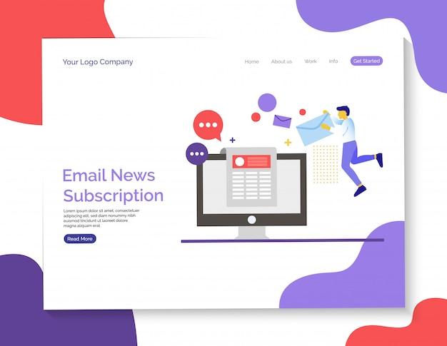 E-mail notícias e assinatura e página