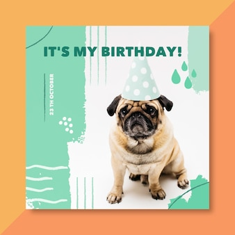 É meu cartão de aniversário com cachorro