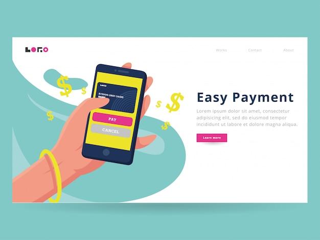 E modelo da página de destino do pagamento