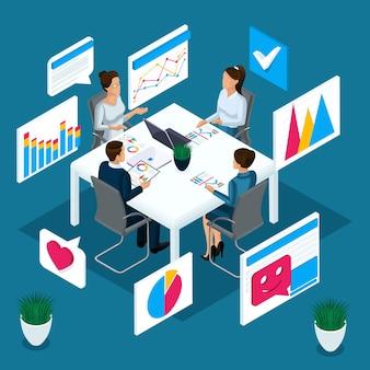 É o conceito de discutir negócios e negócios, brainstorming, gráficos e diagramas. personagens à mesa em uma reunião
