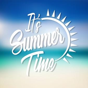 É o design de vetor de rotulação de horário de verão