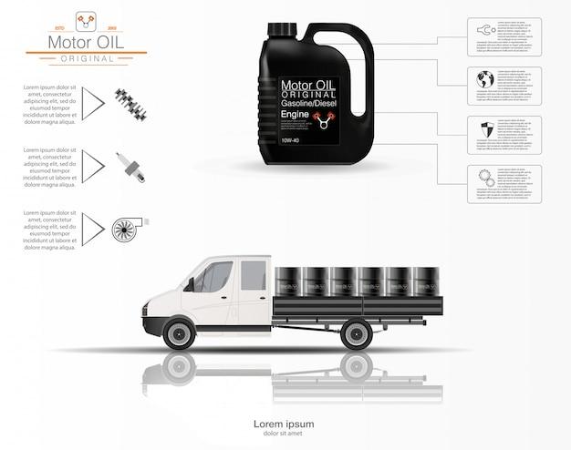 É o óleo do motor. infografia de óleo do motor. modelo tridimensional do caminhão em um fundo branco. capacidade de volume de óleo. imagem.