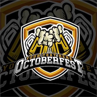 E ostenta o emblema do logotipo da cerveja de outubro fest